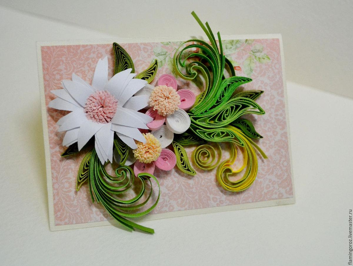 Цветы в технике квиллинг на открытке, надписью было кольцо