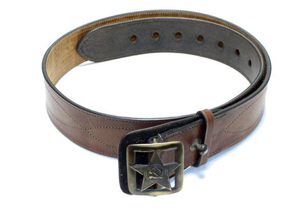 Поясной ремень Командирский из натуральной кожи с изображением звезды, коричневый