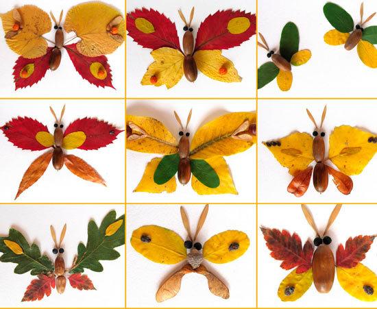 поделки из листьев фото своими руками