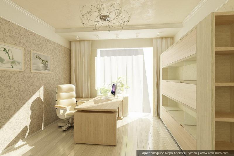 Светлы домашний кабинет - Дизайн в бежевом цвете (ничего лишнего)