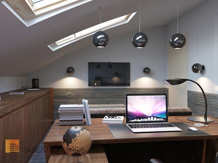 Дизайн интерьера кабинета на мансарде в современном стиле