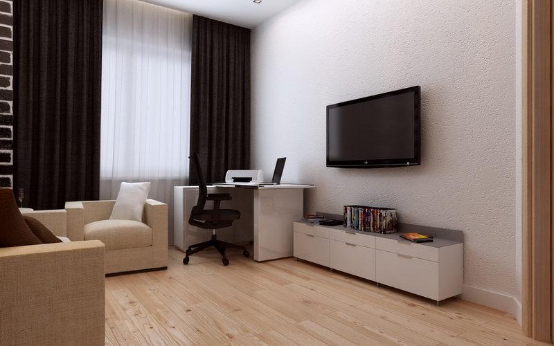 рабочий кабинет, интерьер кабинета в современном стиле, дизайн кабинета, квартира в современном стиле