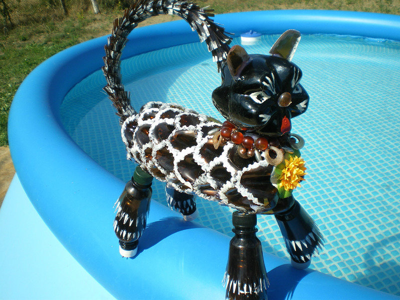 Кот из пластиковых бутылок.Мастер класс. кот из пластиковых бутылок,мастер класс,мк,пошаговое фото,животные своими руками