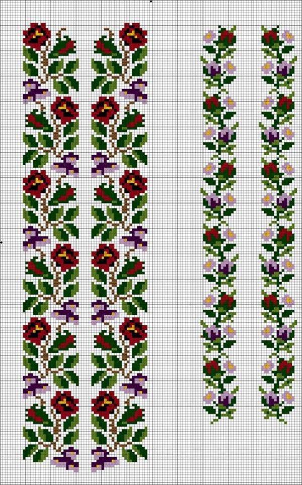 Схемы вышивки крестом для женской вышиванки
