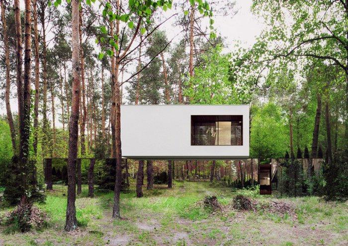 Парящий дом в пригороде Варшавы. Интересную маскировку для загородного лесного дома придумала польская архитектурная студия Local Architecture. Построенный креативными архитекторами дом как будто завис на лесной поляне. И только подойдя к нему поближе вы поймете, что первый этаж необычного здания полностью обшит зеркальными панелями, которые отражают окружающий дом пейзаж.