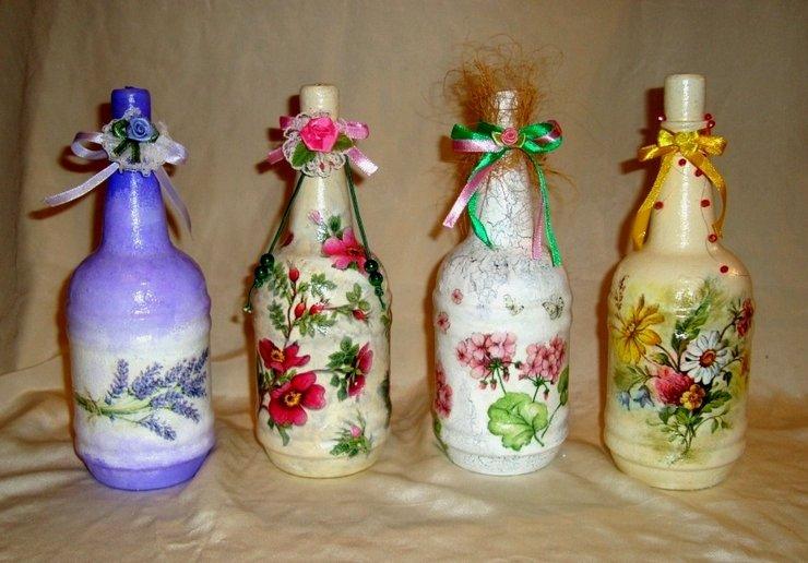 Декупаж на пластиковых бутылках своими руками
