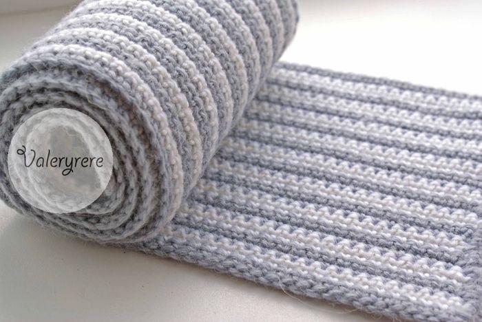 Мужской шарф спицами схема вязания 22