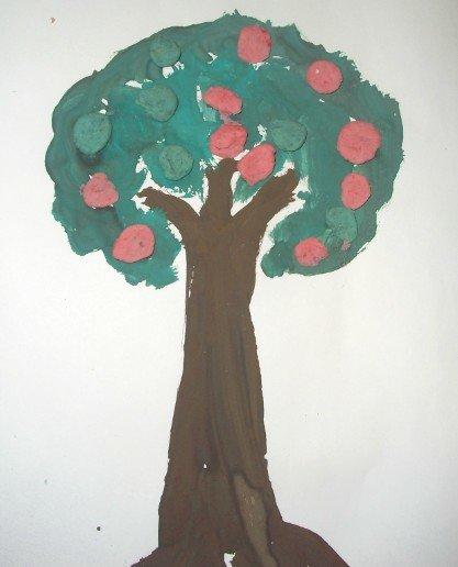 рисунок яблоня с яблоками подготовительная группа