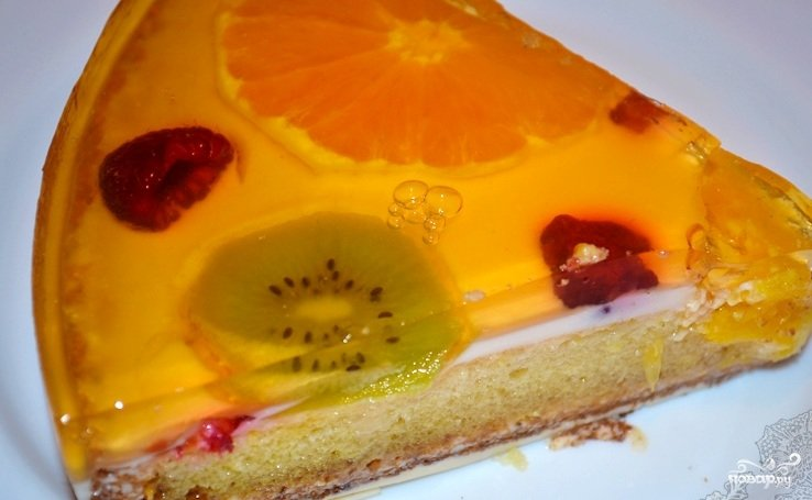 Торт с желе и бисквитом фото рецепт