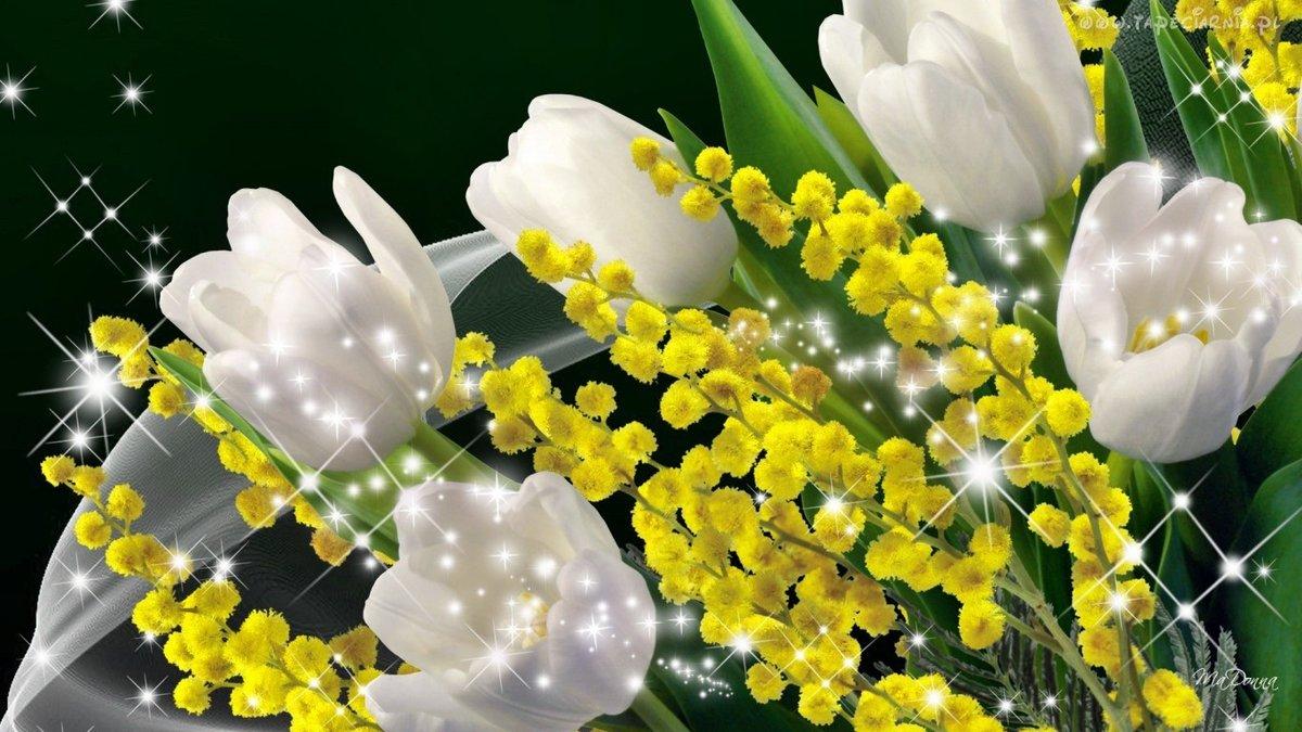 Открытки к 8 марта с мимозами и тюльпанами