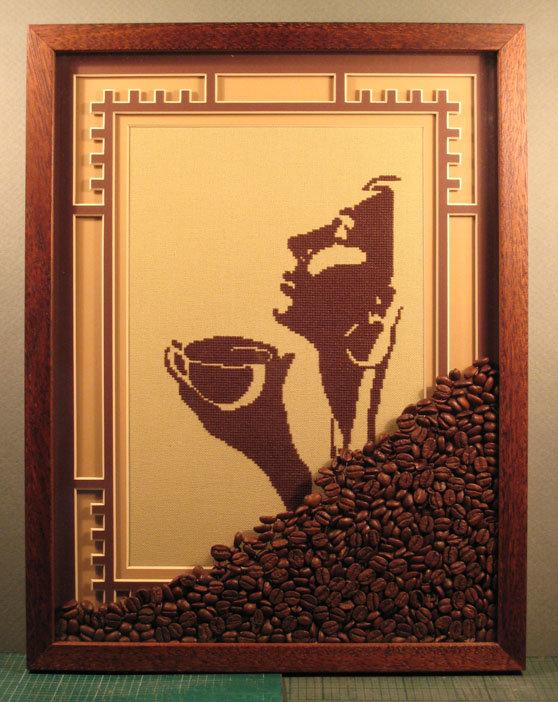 Девушка с кофе схема для вышивки