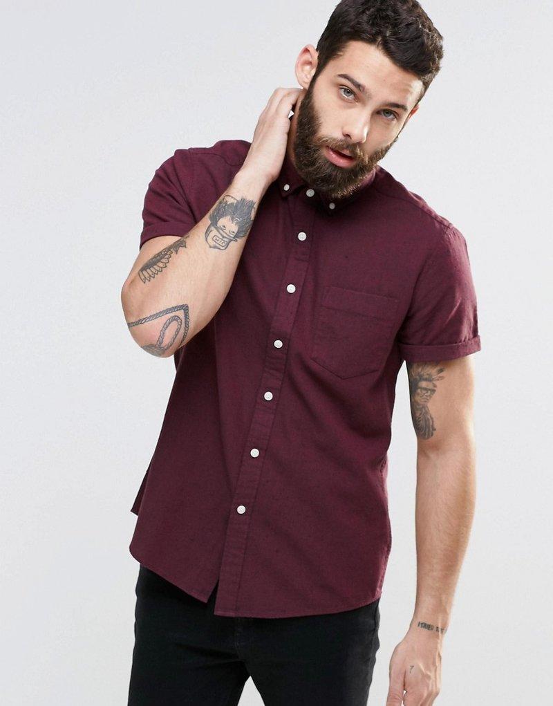 Рубашка классического кроя ASOS. Саржевая ткань в крапинку, цвет марсала.