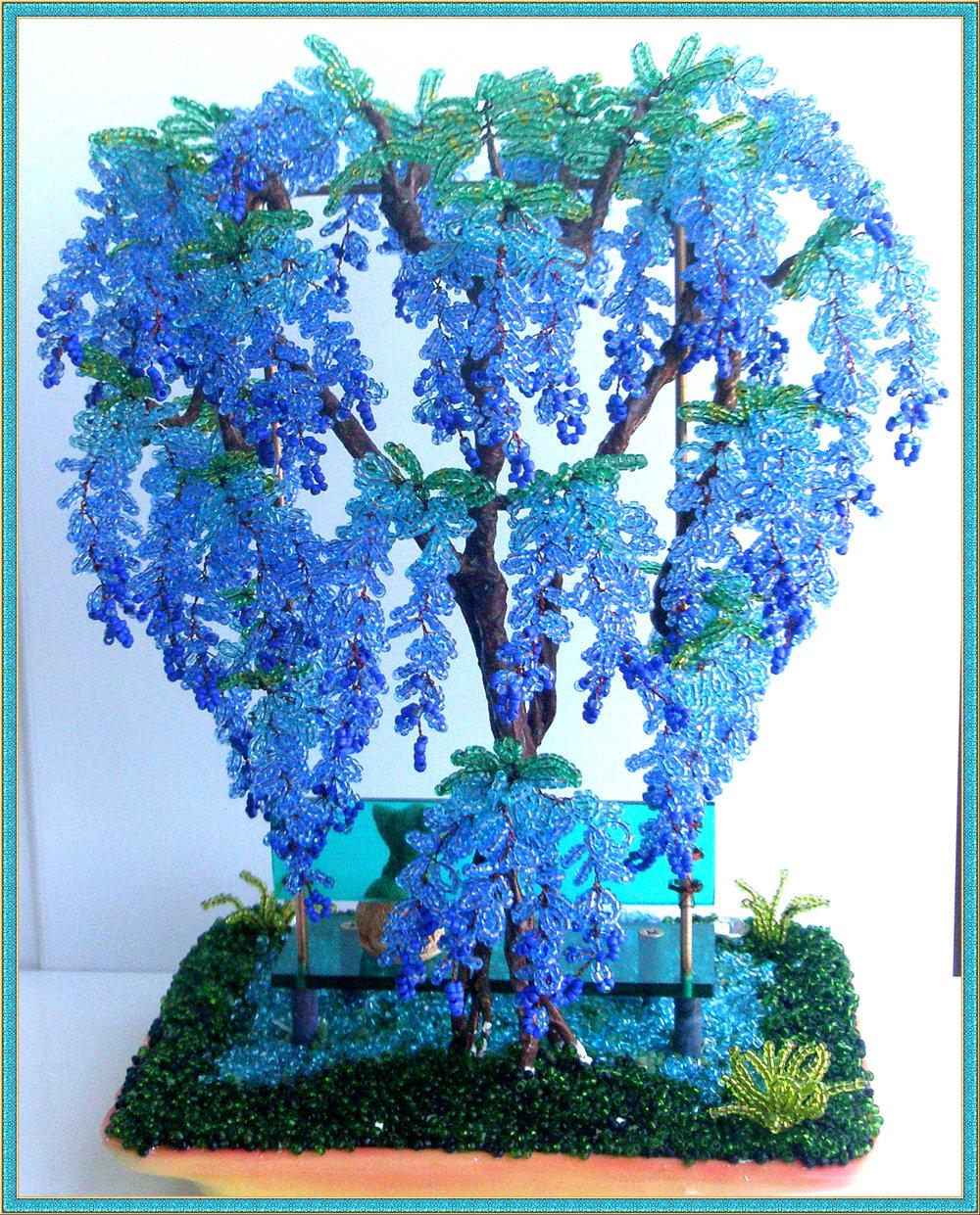ива из бисера в голубом цвете фото относится семейству