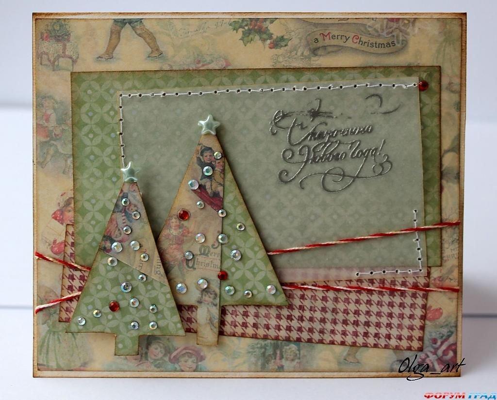 Открытки женщинам, скрапбукинг простые открытки на новый год
