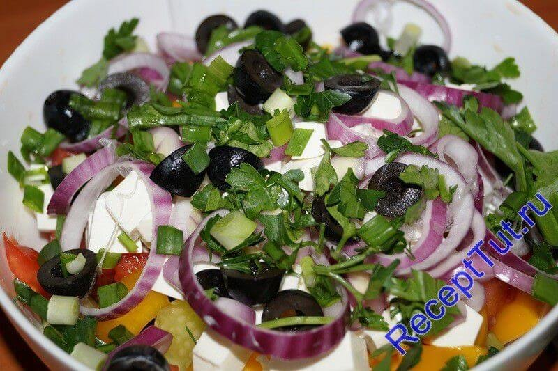 Греческий салат пошагово с фото