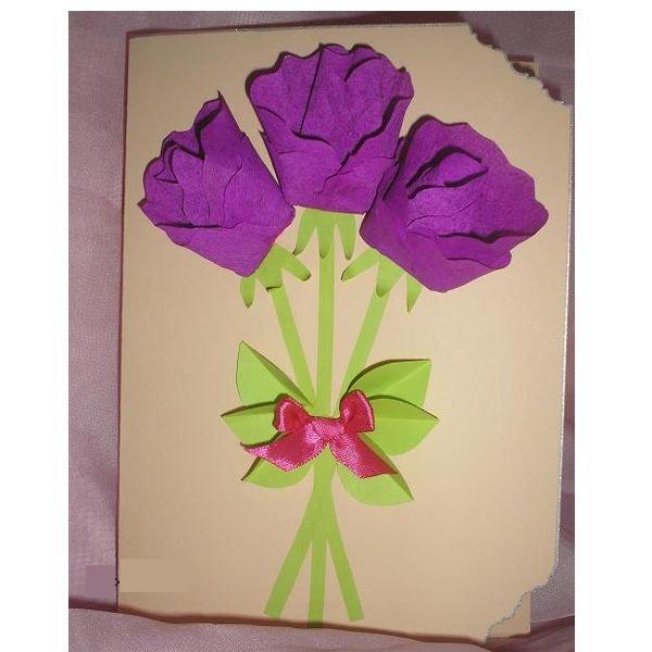 Цветы из гофрированной бумаги открытка на 8 марта, открытки февраля