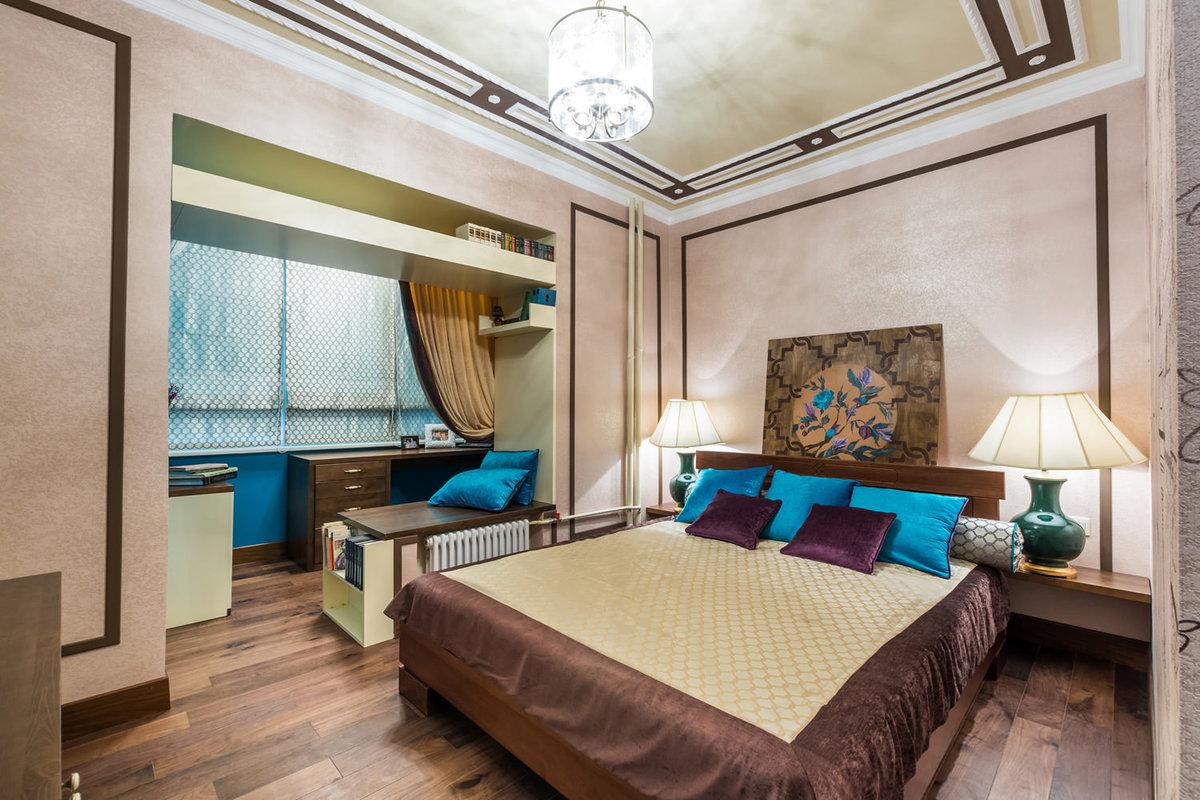 Функциональный дизайн интерьера спальни 12 кв. м. интересные.