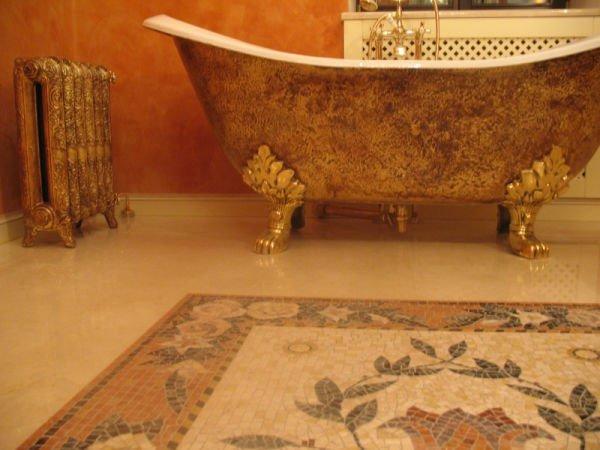 Ванна в стиле Ампир золотая ванная и батарея