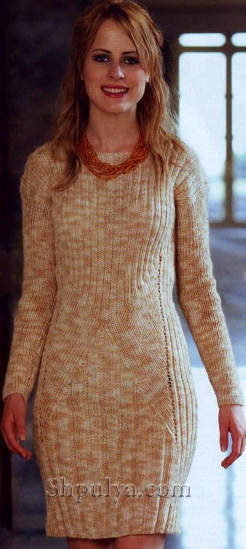 схема вязания платья на спицах