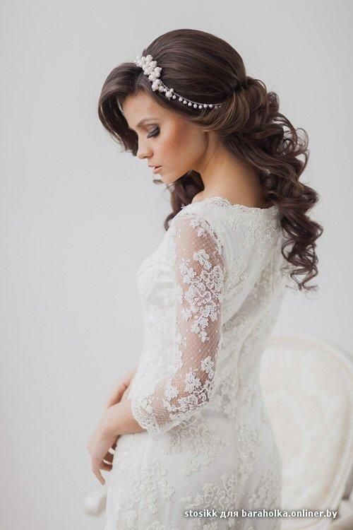 Свадебная прическа закрытое платье