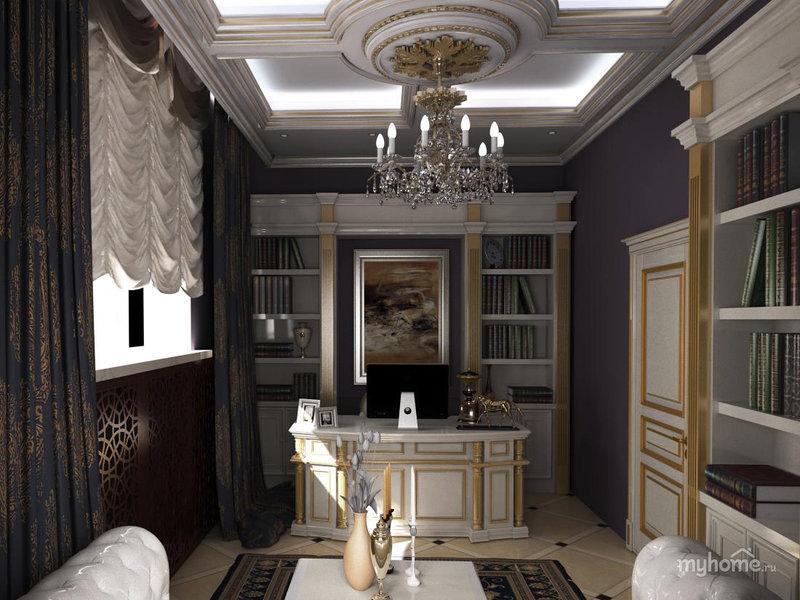 Дизайн шикарного кабинета в классическом стиле