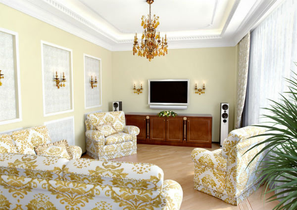 При отделки стен стоит использовать различные бордюры, лепнину, вставки, не стоит делать стены однородными. Стены покрываются обоями, штукатуркой, деревянными панелями, а вот парча или гобелен только усилят впечатление роскоши.