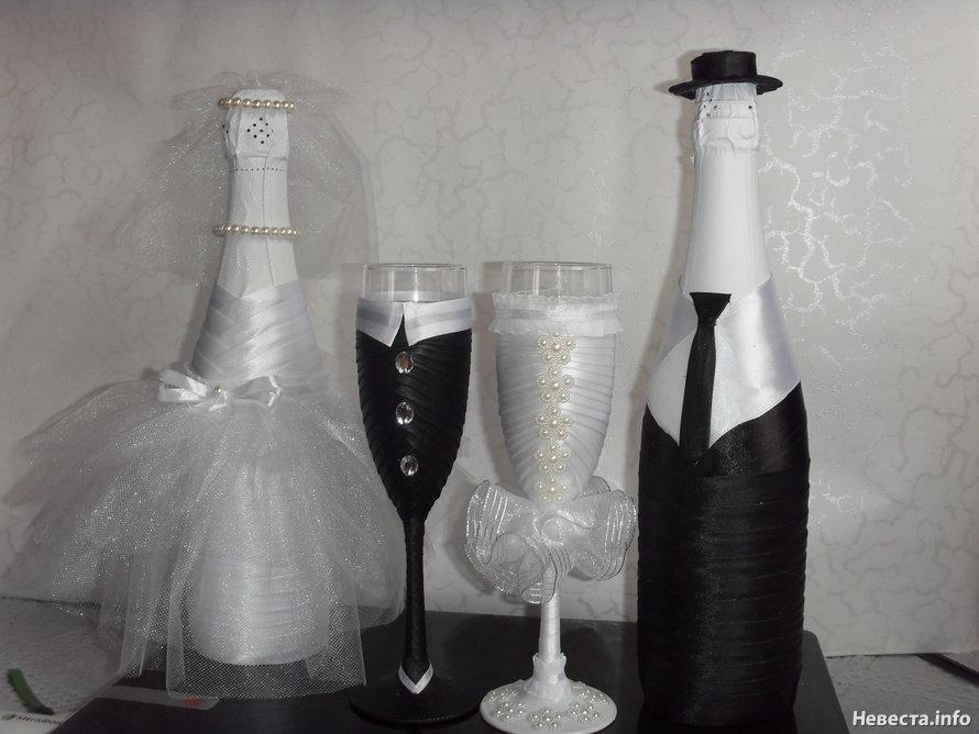 Свадебное шампанское своими руками лентами 722