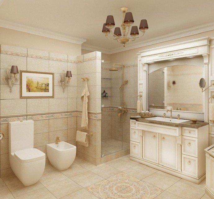 Ванную в стиле ампир  оформляют в роскошных домах, где бюджет позволяет выделить на ремонт значительные средства