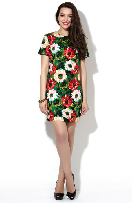 Супер-модное платье прямого силуэта изумрудного цвета в яркий цветочный принт.