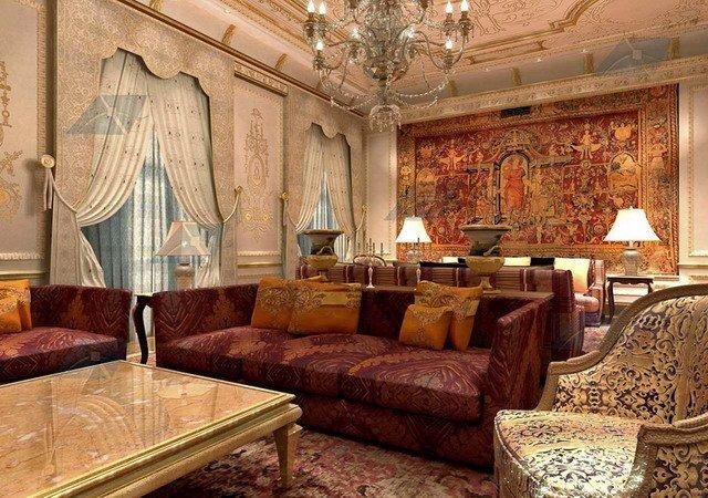 Ковёр на стене, или текстильные обои дополняют интерьер в викторианском стиле