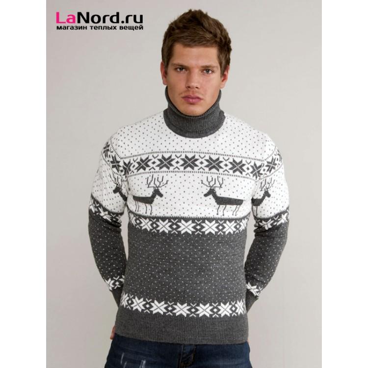 Вязание мужского свитера с оленями 504
