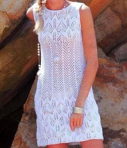 ажурное платье спицами описание схема