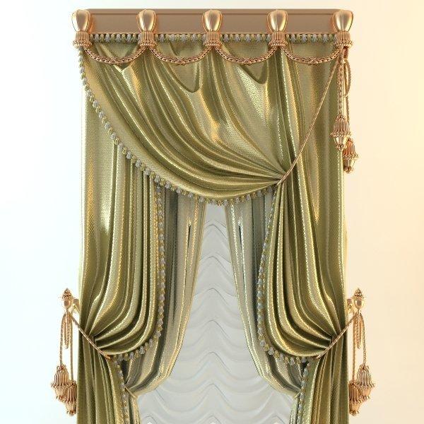 Elegant Baroque Curtains 3d model- CGStudio
