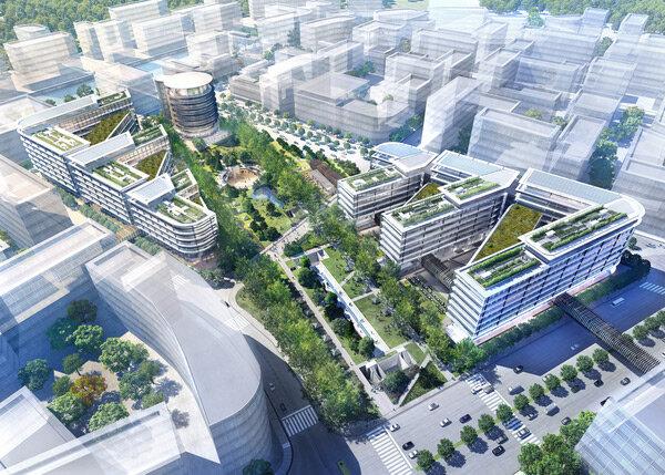 В Шанхае началось строительство квартала Sunny World Centre по проекту бюро Foster+Partners.