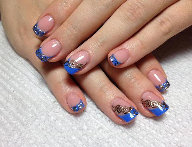 френч голубой с рисунком фото