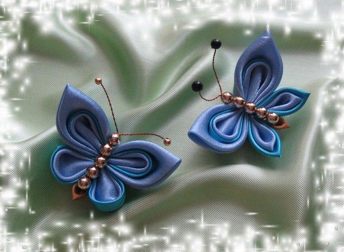 Бабочки из лент на открытку, праздник осени начальной