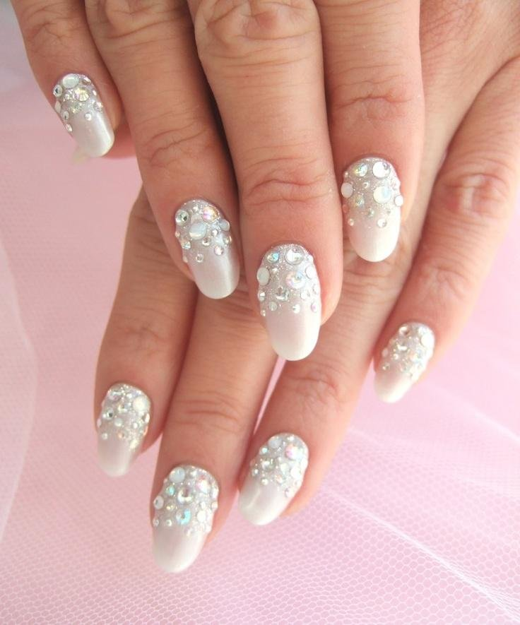 14 Cool Images of White And Rhinestone Nail Design. Awesome White ...