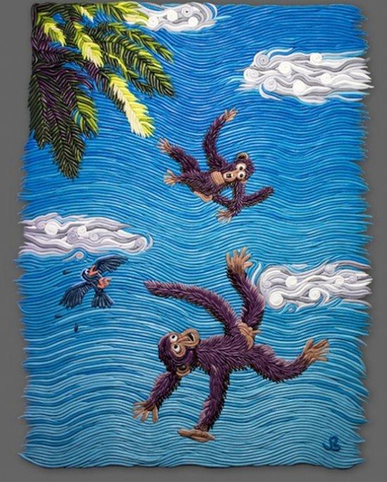 Американский художник Джозеф Барбаччиа (Joseph Barbaccia) использует полимерную глину для создания своих картин. Две обезьянки из полимерной глины на картине