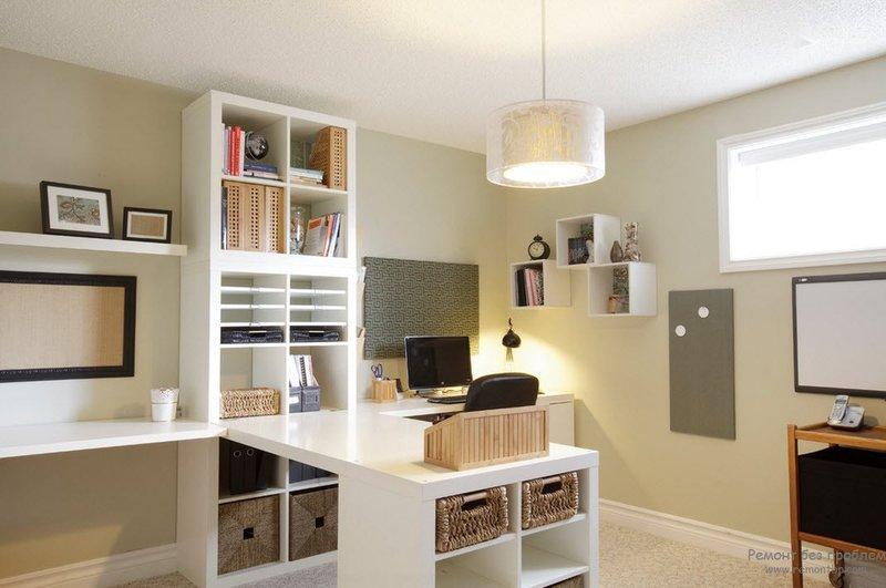 Мебель для домашнего кабинета в дизайне интерьера на фото