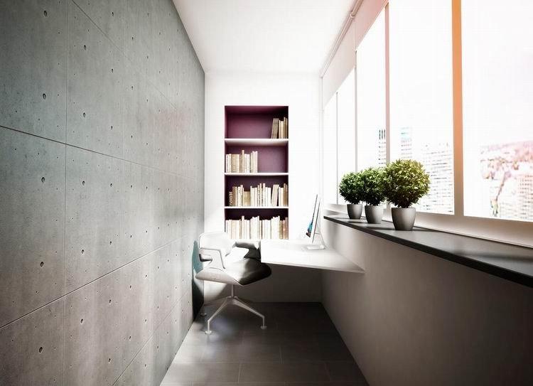Дизайн балконного офиса должен настроить на рабочий лад, но не следует использовать слишком «офисные» цвета и материалы, учитывая особенности домашнего рабочего места.