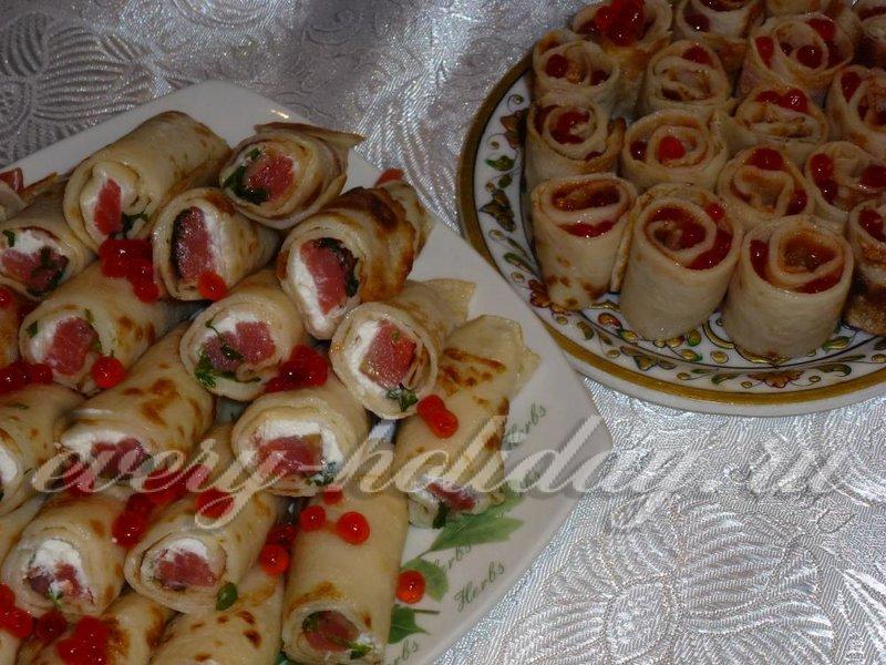 блинчики с начинкой на праздничный стол рецепты с фото