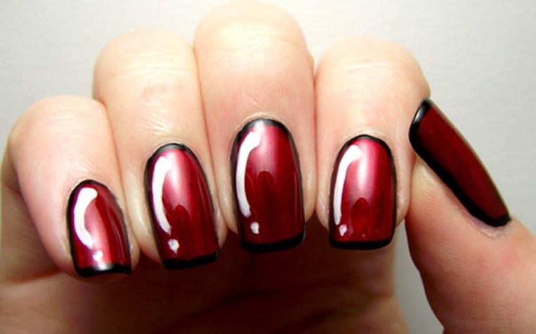 Ногти бордовый красный дизайн фото