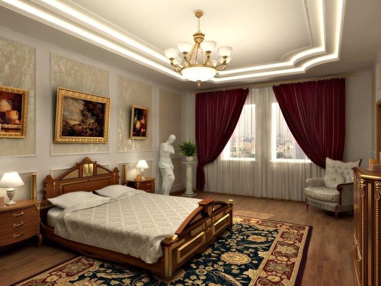 Идеи для спальни, оформление картинами, масивной люстрой и ковром