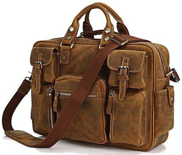 Цвет: светло-коричневый Материал: натуральная винтажная кожа; Размер (см.): ширина - 42, 30,5, глубина  Яркая оригинальная сумка для мужчин очень красивого коричневого цвета с множеством карманов, в которых найдется мест...