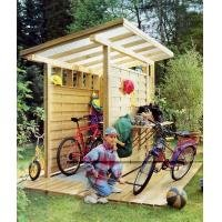 Симпатичный и функциональный гараж своими руками для велосипедов на дачу