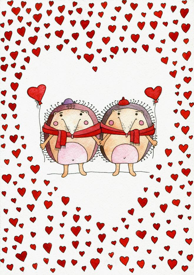 Картинки девочки, милые открытки с 14 февраля