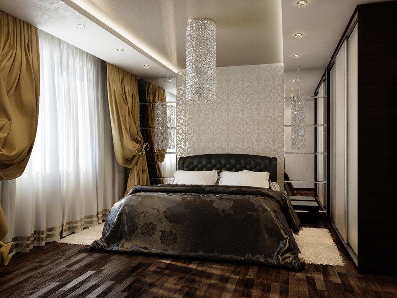 Особенностью спальни в классическом стиле являются шторы. Но шторы не простые, а сложные, с изящной драпировкой и ламбрекеном.