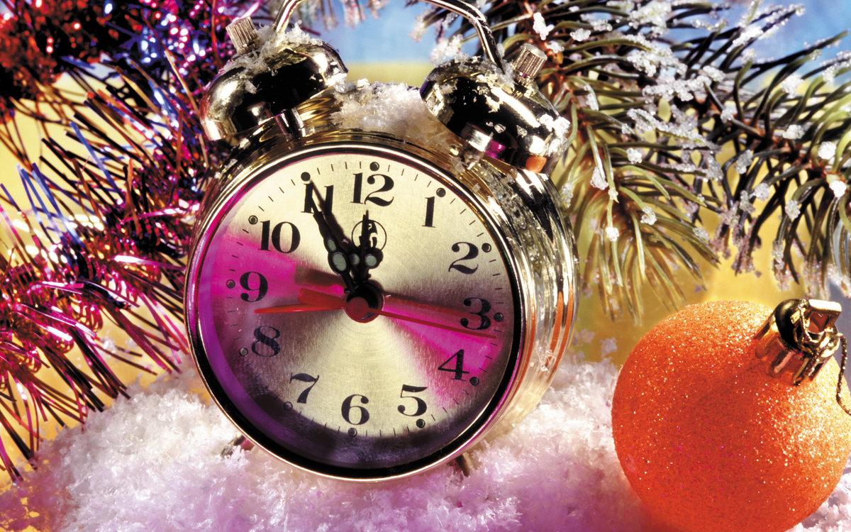 Фото с часами новый год
