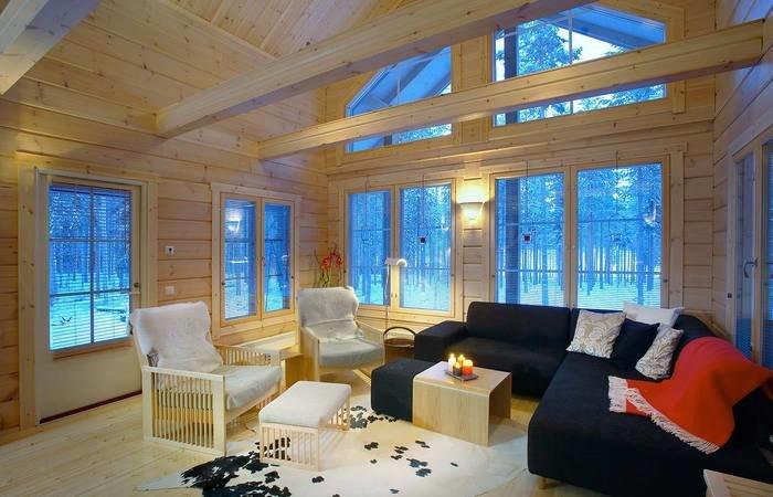Барочный стиль дизайна. Интерьер деревянных домов. Гостинная