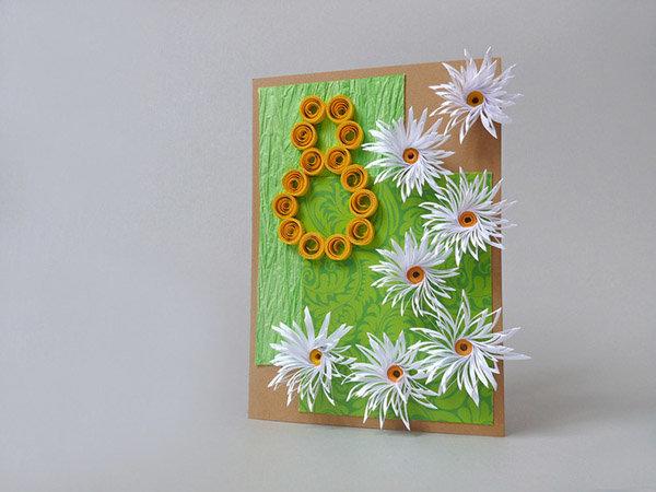 Белая гелевая, открытка к 8 марта учителю своими руками
